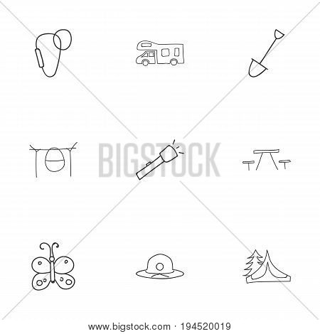 Set Of 9 Editable Travel Icons. Includes Symbols Such As Beach Hat, Caravan, Carabine And More. Can Be Used For Web, Mobile, UI And Infographic Design.