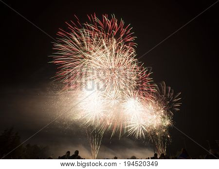 Fireworks Bright And Colorful Bursting In The Night Sky, Wind Blowing Smoke And Sparkles