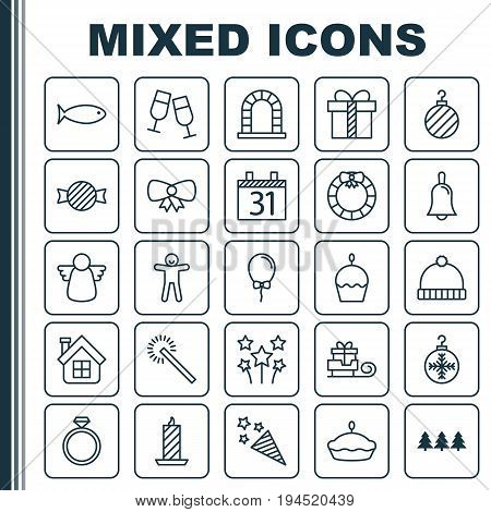 Holiday Icons Set. Collection Of Garland , Arch, Firecracker Elements. Also Includes Symbols Such As Box, Tart, Sparkle.