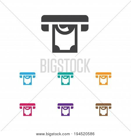 Vector Illustration Of Excitement Symbol On Atm Icon. Premium Quality Isolated Printer Element In Trendy Flat Style.