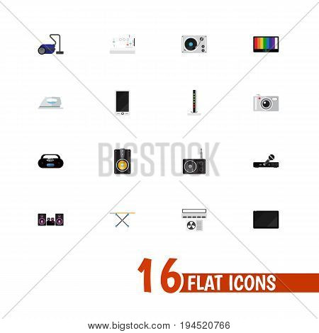 Set Of 16 Editable Tech Icons. Includes Symbols Such As Sewing Machine, Ventilation, Sweeper And More. Can Be Used For Web, Mobile, UI And Infographic Design.