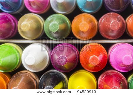 Closeup Of Wax Crayons Tops Seen From Above