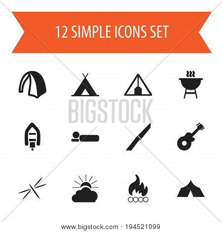 Set Of 12 Editable Camping Icons. Includes Symbols Such As Bedroll, Pyramid, Refuge And More. Can Be Used For Web, Mobile, UI And Infographic Design.