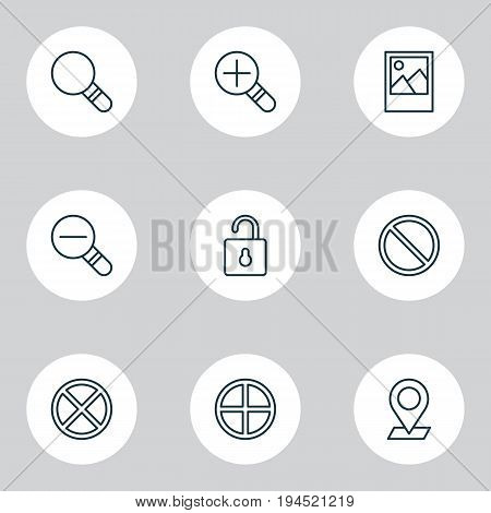 Web Icons Set. Collection Of Zoom Out, Research, Unlock And Other Elements. Also Includes Symbols Such As Magnifying, Pinpoint, Wrong.