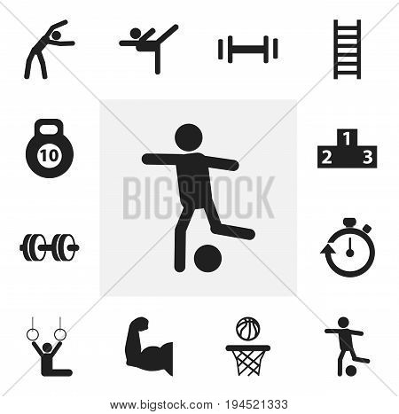 Set Of 12 Editable Exercise Icons. Includes Symbols Such As Biceps, Exercise, Stairway And More. Can Be Used For Web, Mobile, UI And Infographic Design.