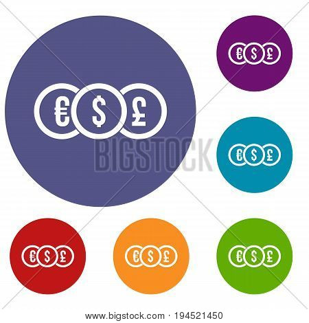 Euro, dollar, pound coin icons set in flat circle reb, blue and green color for web