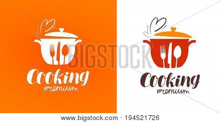 Cooking, cuisine, cookery logo. Restaurant, menu, cafe, diner label or icon. Vector illustration isolated on white background