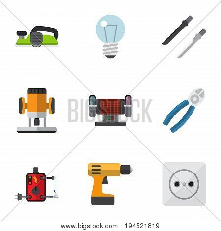 Set Of 9 Editable Instruments Icons. Includes Symbols Such As Bulb, Jointer, Nipper And More. Can Be Used For Web, Mobile, UI And Infographic Design.