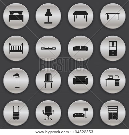 Set Of 16 Editable Furniture Icons. Includes Symbols Such As Ergonomic Seat, Interior, Illuminant And More. Can Be Used For Web, Mobile, UI And Infographic Design.