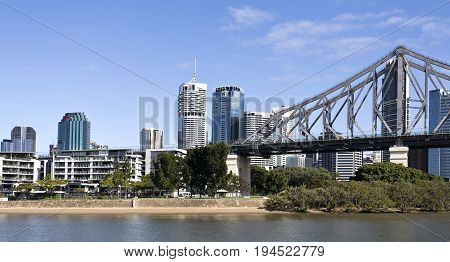 BRISBANE, AUSTRALIA - June 22, 2017: The Story Bridge is the longest cantilever bridge in Australia and spans 777 m over the Brisbane River. The south landing at Kangaroo Point.