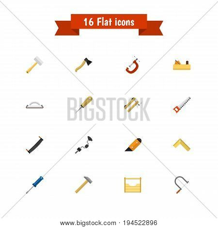 Set Of 16 Editable Instrument Icons. Includes Symbols Such As Emery Paper, Jointer, Meter And More. Can Be Used For Web, Mobile, UI And Infographic Design.