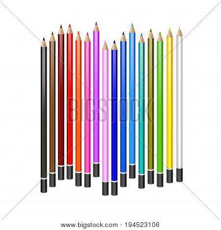 Colored pencils. Set of realistic vector pencils. EPS-10