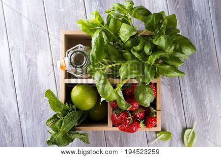 ingredients for Alcohol or non alcohol lemon and basil drink, infused water or jin cocktail
