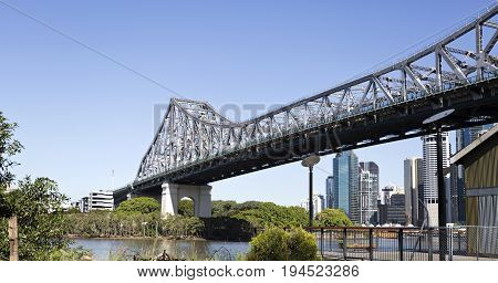 BRISBANE, AUSTRALIA - June 22, 2017: The Story Bridge is the longest cantilever bridge in Australia and spans 777 m over the Brisbane River. View towards the south landing at Kangaroo Point.