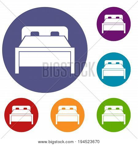 Double bed in simple style isolated on white background vector illustration