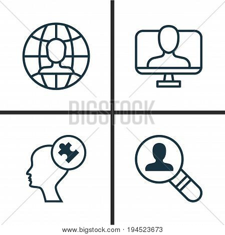 Business Icons Set. Collection Of Online Identity, Human Mind, Open Vacancy And Other Elements. Also Includes Symbols Such As Identity, Employee, Global.
