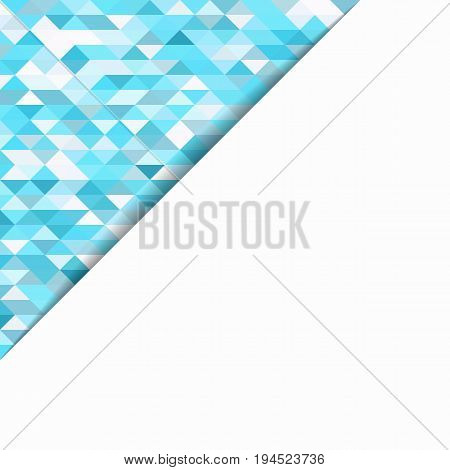 Template for a poster with a white zone for text on an abstract background. Material design in turquoise tone.