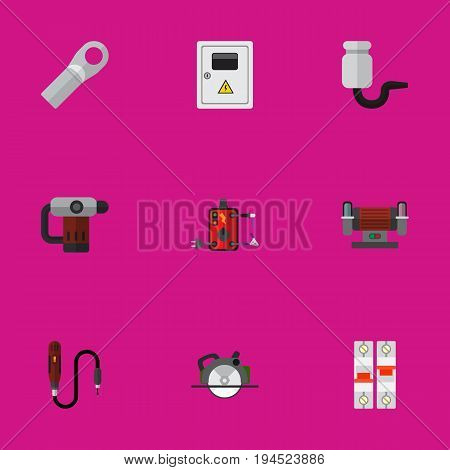 Set Of 9 Editable Instruments Icons. Includes Symbols Such As Panel, Soldering, Inserting Nails And More. Can Be Used For Web, Mobile, UI And Infographic Design.