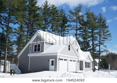 houses in residential community after snow in winter