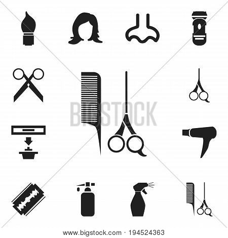 Set Of 12 Editable Barber Icons. Includes Symbols Such As Nasal, Exhauster, Beauty And More. Can Be Used For Web, Mobile, UI And Infographic Design.