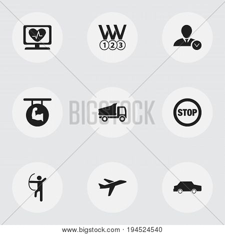 Set Of 9 Editable Complicated Icons. Includes Symbols Such As Aircraft, Biceps, Stop And More. Can Be Used For Web, Mobile, UI And Infographic Design.