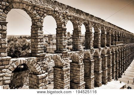 Ancient aqueduct of roman in Segovia, Spain
