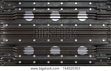 metal plate with screws concept industrial photo background