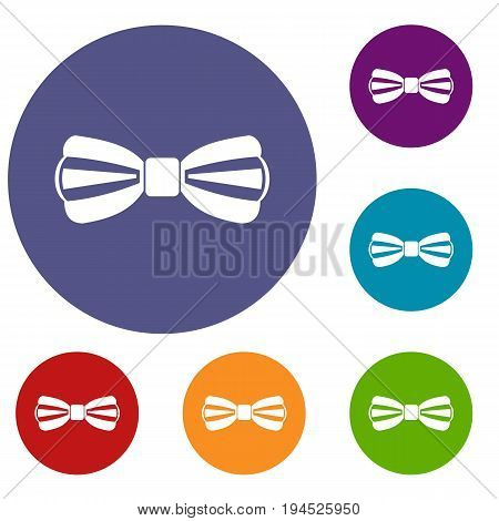 Bow tie icons set in flat circle reb, blue and green color for web