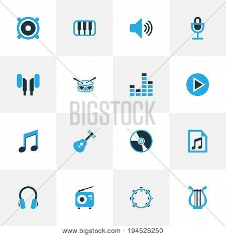 Multimedia Colorful Icons Set. Collection Of Playlist, Headset, Speaker And Other Elements. Also Includes Symbols Such As Play, Musical, Tambourine.