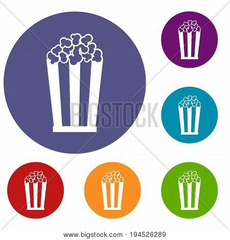 Popcorn in striped bucket icons set in flat circle reb, blue and green color for web