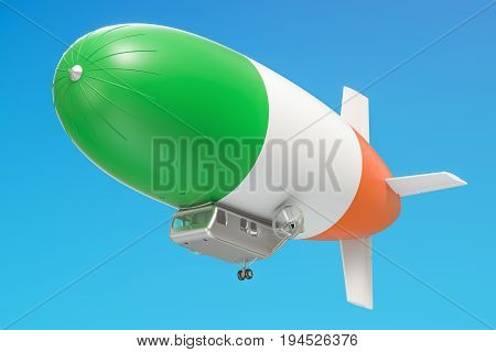 Airship or dirigible balloon with Irish flag 3D rendering