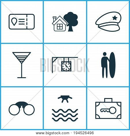 Travel Icons Set. Collection Of Surf-Board, Ranch Home, Cop Hat And Other Elements. Also Includes Symbols Such As Beach, Access, Travel.
