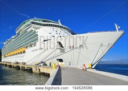 LABADEE, HAITI - APRIL 16, 2017: Royal Caribbean cruise ship Navigator of the Seas docked at the private port of Labadee in the Caribbean Island of Haiti