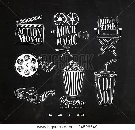 Cinema signs clapperboard movie camera chair cine film 3d glasses popcorn soda drawing with chalk on chalkboard background set 1