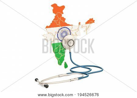 Indian map with stethoscope national health care concept 3D rendering