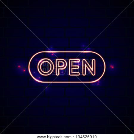 Neon glowing open sign in front of the brick wall. Creative night club opening symbol