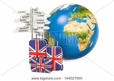 United Kingdom travel concept. Suitcases with British flag signpost and Earth globe. 3D rendering