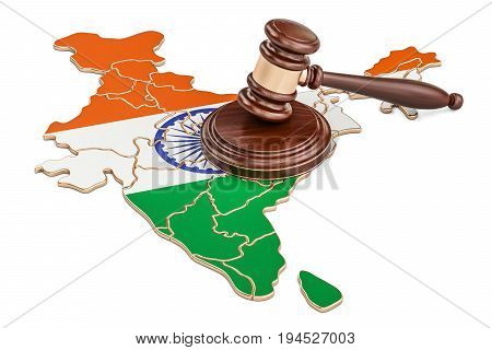 Wooden Gavel on map of India 3D rendering isolated on white background