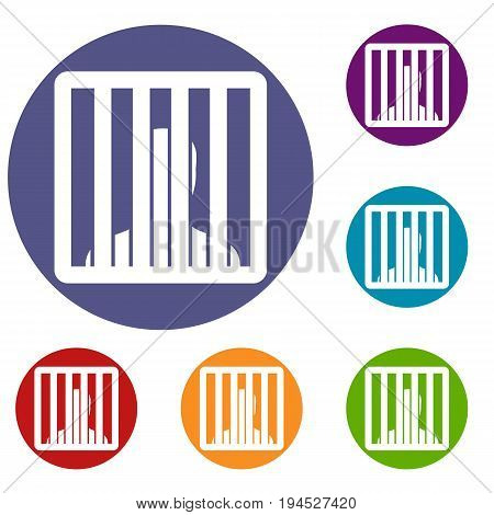 Man behind jail bars icons set in flat circle reb, blue and green color for web