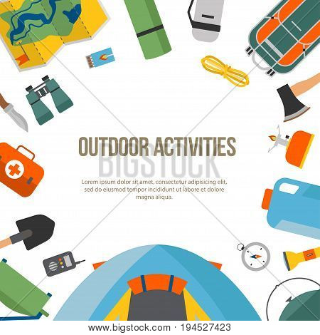 Banner set of camping and tourism on an outdoor in flat style, round. Summer background with camping equipment. For websites, printing and applications, vector illustration