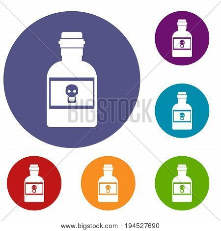 Poison bottle icons set in flat circle reb, blue and green color for web