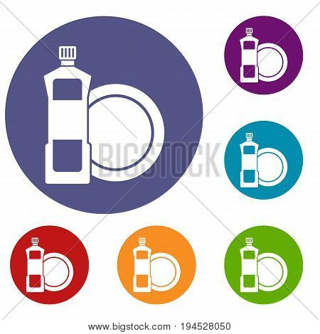 Dishwashing liquid detergent and dish icons set in flat circle reb, blue and green color for web
