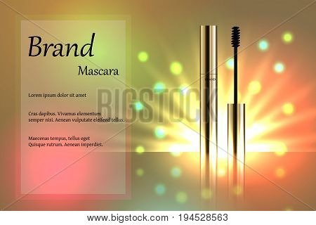 Cosmetics, The Golden Mascara On The Delicate Background With Bright Rays, Brand, Design, Luxury, Po