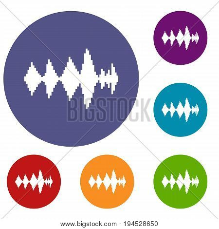 Audio digital equalizer technology icons set in flat circle reb, blue and green color for web