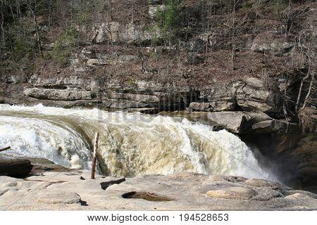 Cumberland Falls in Cumberland Falls State Park Kentucky Spring 2017.
