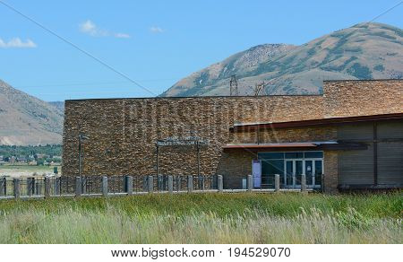BRIGHAM CITY, UTAH - JUNE 28, 2017: Bear River Migratory Bird Refuge. The Hansen Wildlife Education Center features interactive exhibits about the birds and wetlands of the refuge.