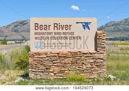 BRIGHAM CITY, UTAH - JUNE 28, 2017: Bear River Migratory Bird Refuge sign. The refuge encompasses the Bear River and its delta where it flows into the northern part of the Great Salt Lake.