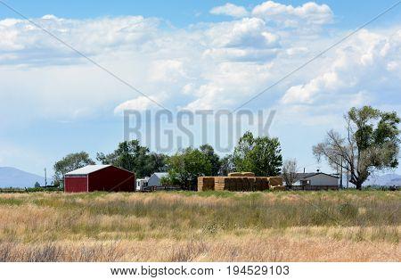 BOX ELDER COUNTY, UTAH - JUNE 28, 2017: A rural farm landscape adjacent to the Bear River Migratory Bird Refuge.