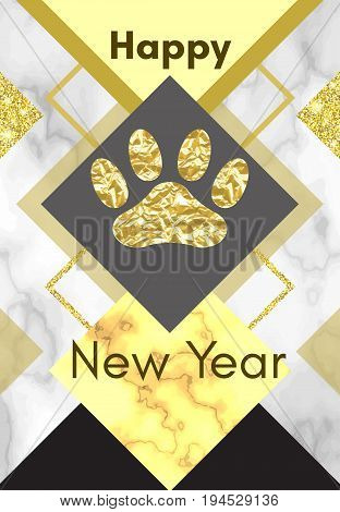 2018 chinese new year of yellow dog concept with golden vector paw track glitter geometric shapes and triangles marble background template for calendar poster banner greeting card