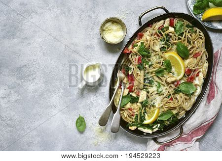 Whole Wheat Pasta With Chicken Fillet And Vegetables In A Skillet Pan.top View.